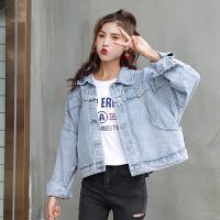 牛仔衣 女士翻领后斜排扣子牛仔衣2020年秋季新款韩版时尚潮流女式宽松休闲女装牛仔外套