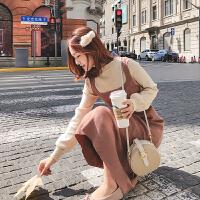 套头毛衣女宽松中长款秋冬季2018新款韩版过膝打底针织毛线连衣裙 均码