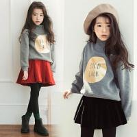 亲子装季母女新款中大童加绒加厚卫衣韩版女童裙裤两件套潮 红色裙裤 100cm