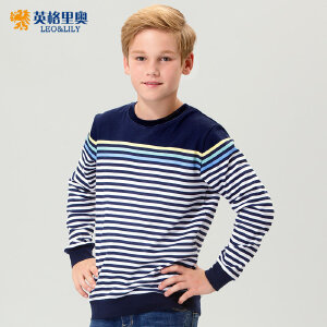 男童卫衣套头圆领T恤2018秋冬中大童儿童纯棉运动童装条纹上衣潮