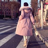 羽绒服女中长款长过膝2018新款冬装大毛领白鸭绒时尚修身加厚外套 X