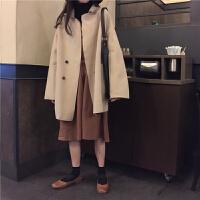 秋冬女装外套2018韩版女神chic百搭宽松妮子小个子中长款毛呢大衣 均码