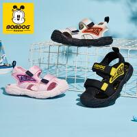 巴布豆童鞋2021夏季新款男童女童软底小童男孩时尚包头宝宝机能鞋