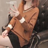 毛衣女士上衣春装2018新款韩版短款V领鸡心领针织打底衫女时尚潮
