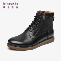 莱尔斯丹 时尚通勤圆头商务休闲靴短靴男靴马丁靴LS ATM76816