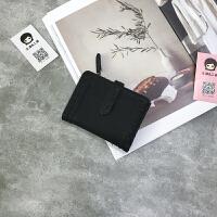 钱包女短款韩版学生可爱个性潮复原宿时尚简约卡包 黑色