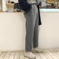 P684港味秋装新款小西裤复古高腰哈伦九分裤女铅笔裤显瘦
