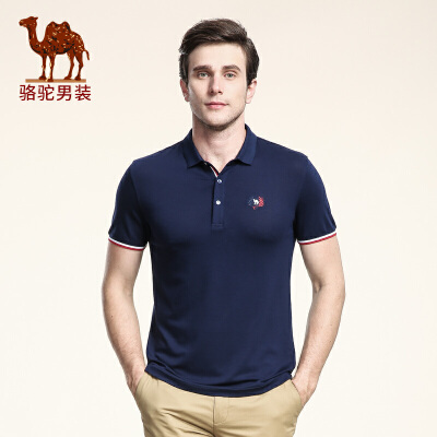 骆驼男装 夏季新款时尚纯色翻领绣标短袖T恤衫日常休闲男上衣