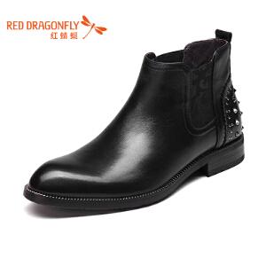 红蜻蜓男鞋 新品时尚流行铆钉尖头套脚舒适男靴