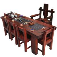 功夫茶几客厅小茶桌老船木茶桌椅客厅阳台小茶几办公泡茶桌功夫茶台实木家具特价 整装