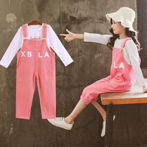 童装2018秋季新款女童XBLA背带裤套装儿童长袖T恤+背带裤两件套