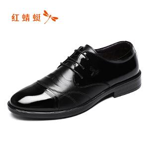 红蜻蜓男鞋2017冬季新品商务正装棉鞋真皮低帮加绒皮鞋舒适低帮鞋