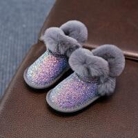 女童雪地靴2017新款季6加绒5亮片棉靴1-3-13岁中大童短靴子