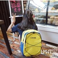 新款韩版经典复古色简约百搭运动潮字母双肩包学生男女书包情侣背包
