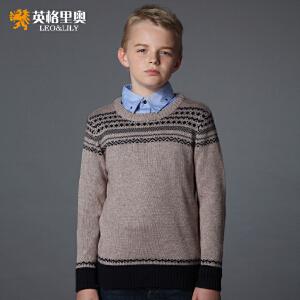 英格里奥男童毛衣圆领套头衫针织衫英伦风打底毛衣1256