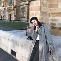 风衣女中长款2018新款韩版秋季百搭收腰复古时尚学生过膝格子外套