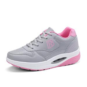 运动鞋女增高小白鞋2017秋季新款韩版百搭透气皮面气垫跑步鞋子女