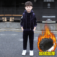 童装男童装套装2018新款金丝绒儿童加绒加厚韩版卫衣春秋三件套