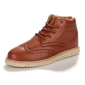 秋冬季潮男布洛克男鞋子新款英伦男士高帮鞋复古板鞋高帮加棉休闲皮鞋潮鞋男