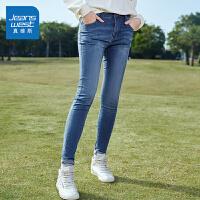 [每满400减150]真维斯牛仔裤女2018冬装新款bf高弹紧身小脚长裤子铅笔裤韩版潮流
