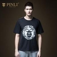 PINLI品立2020夏季新款男�b�A�I印花短袖T恤潮牌上衣男潮