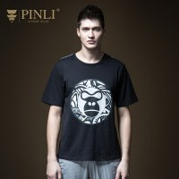 PINLI品立2020夏季新款男装圆领印花短袖T恤潮牌上衣男潮