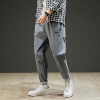男士牛仔裤夏季2021新款韩版潮流直筒纯色时尚百搭束脚九分裤男