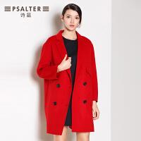 诗篇女装冬款 英伦大红双排扣羊毛大衣65680174