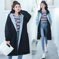 两面穿胖mm风衣外套女学生中长款2018春秋季新款韩版宽松大码棉衣