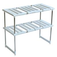 不锈钢可伸缩下水槽架子微波炉厨房置物架收纳架锅架层架 白色