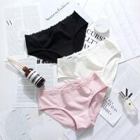 三条装女士纯棉中腰内裤全棉性感透气黑白色少女三角蕾丝底裤