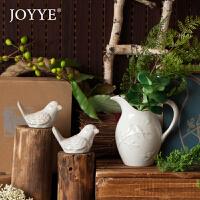 Joyye 美式乡村小鸟调味罐盐罐法式插花瓶水罐复古做旧烛台陶瓷