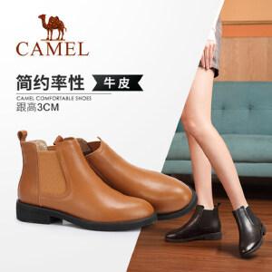 Camel/骆驼女鞋 2018冬季新品时尚英伦真皮短靴舒适低跟保暖靴子