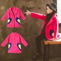 童装2018冬季新款女童双心夹棉呢大衣儿童时尚韩版上衣加厚外套