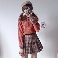 秋冬女装新款韩版气质小清新系带蝴蝶结领衬衫灯芯绒长袖衬衣上衣 均码