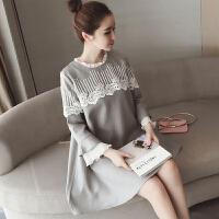 韩版孕妇春装连衣裙2018新款时尚款潮妈中长款春款上衣春秋装外出
