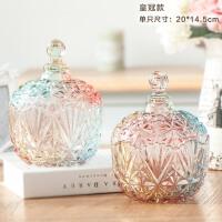 优贝家 意式风格精致玻璃双拼糖果罐储物罐茶叶罐 家居装饰器皿