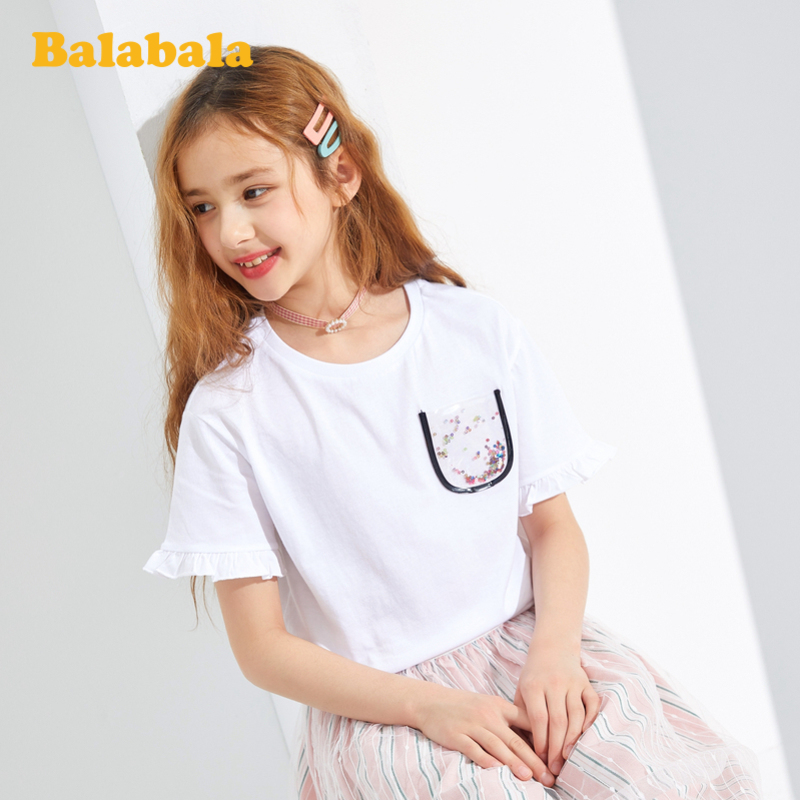 巴拉巴拉儿童t恤女童短袖夏装大童打底衫纯棉印花上衣甜美洋气女