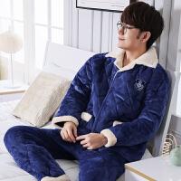 2018新款睡衣男冬季大码加厚珊瑚绒三层夹棉袄可外穿法兰绒家居服