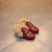 季新款时尚儿童棉鞋加绒保暖女童豆豆鞋蜜蜂毛毛鞋时尚小童皮鞋