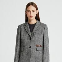 DAZZLE地素 2019秋装新款时髦通勤精纺羊毛西装外套女2G3F5053A