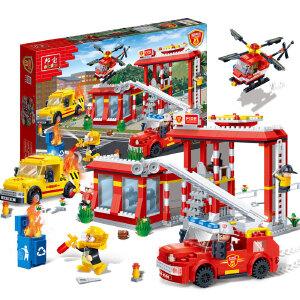 【当当自营】邦宝益智积木儿童小颗粒男孩玩具生日礼物亲子城市消防工作站7115