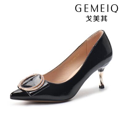 戈美其春秋季新款浅口尖头高跟单鞋女中跟细跟女鞋职业工作鞋女