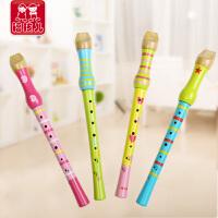 福孩儿 木制儿童笛子玩具 8孔竖笛小孩初学练习 宝宝吹奏乐器玩具