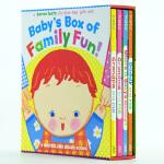 凯伦・卡茨纸板书盒装 英文原版 Baby's Box of Family Fun! 翻翻书
