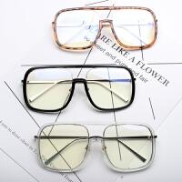 2018新款时髦方形边框墨镜镜大方框男女网红款大框眼镜架平光镜框 加配有度数联系客服
