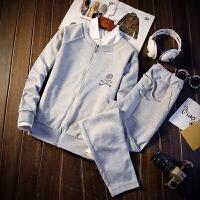 超值2件套装 镶钻骷髅开衫男女情侣卫衣套装休闲外套运动装