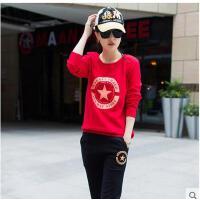 新款女士休闲套装 运动套装女 韩版 卫衣两件套跑步运动服