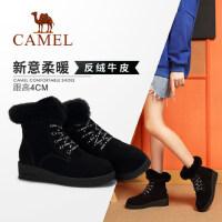 骆驼女鞋 2018冬季新品时尚潮酷字母系带兔毛保暖舒适厚底雪地靴