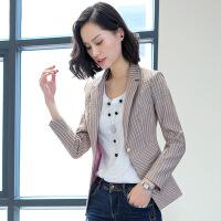 小西装女外套长袖短款2018秋季新款休闲百搭时尚气质轻薄条纹